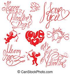 text:, dia, feliz, valentineçs, amor, tu, desenho, style., vindima, feriados, casório, caligrafia, jogo, mão, mim, etc., elementos, feliz, ou, escrito