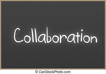 texto, colaboração, chalkboard