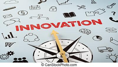 texto, compasso, inovação, -, ícones
