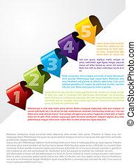 texto, modelo, anunciando, seta, dado forma