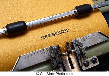 texto, newsletter, máquina escrever