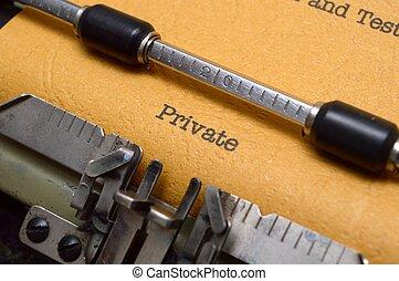 texto, privado, máquina escrever