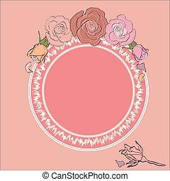 texto, quadro, formulou, redondo, rosas