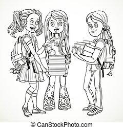 textos, companhia, isolado, desenho, falando, levantar, fundo, schoolgirl, branca, mochilas, linha