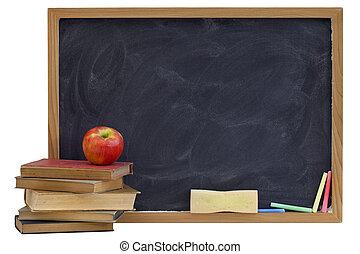 textos, quadro-negro, antigas, maçã