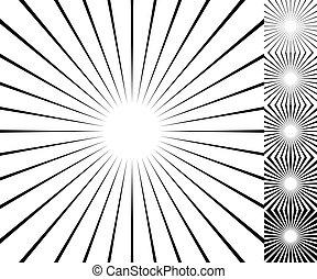 thickness., set., starburst, /, elemento, fundo, 6, sunburst