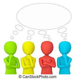think., pessoas, -, 3d, pequeno