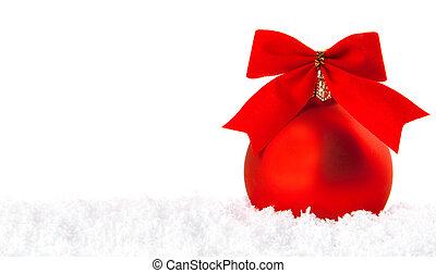 tigela, neve, decoração, branca, feriado, natal, vermelho