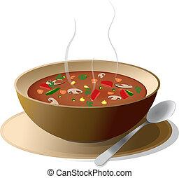 tigela, sopa, vegetal, quentes