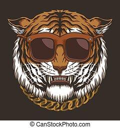 tiger, óculos, vetorial, cabeça, ilustração