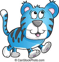 tiger, alegre, ilustração, vetorial