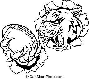 tiger, americano, jogador, esportes, futebol, mascote