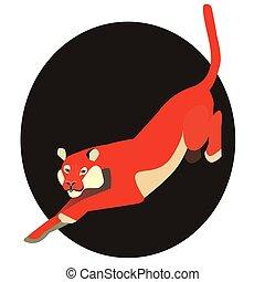 tiger, apartamento, branco vermelho, ilustração
