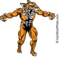tiger, assustador, esportes, mascote