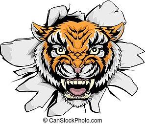 tiger, através, rasgando, mascote