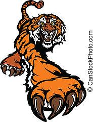 tiger, corporal, mascote, gráfico, prowling
