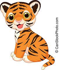 tiger, cute, caricatura