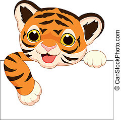 tiger, cute, em branco, caricatura, sinal