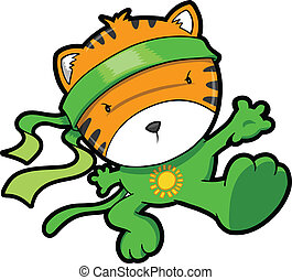 tiger, cute, vetorial, filhote, ninja