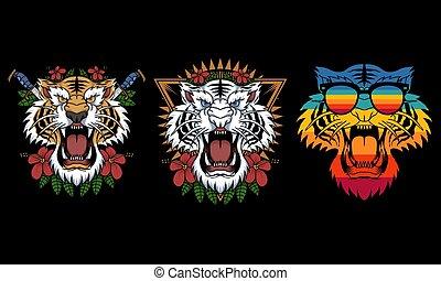 tiger, decoração, vetorial, ilustração