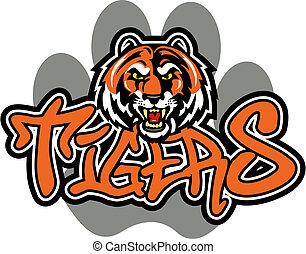 tiger, desenho, mascote