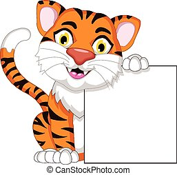 tiger, em branco, tábua, caricatura