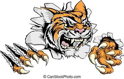 tiger, garra, avanço, mascote