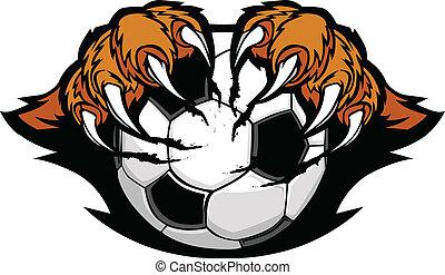 tiger, garras, bola futebol, vetorial