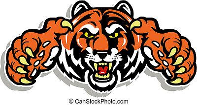 tiger, garras, rosto