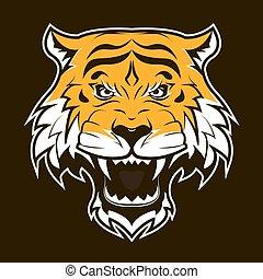 tiger, head., zangado, rugindo, face.
