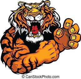 tiger, imagem, vetorial, mascote