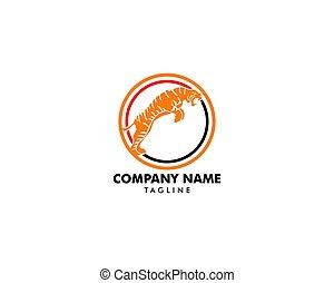tiger, logotipo, ícone, mascote, ilustração, vetorial
