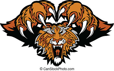 tiger, logotipo, mascote, gráfico, pouncing