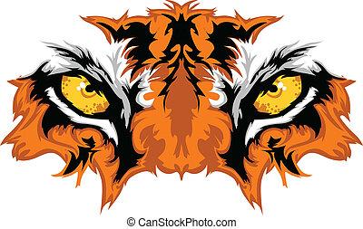 tiger, olhos, mascote, gráfico