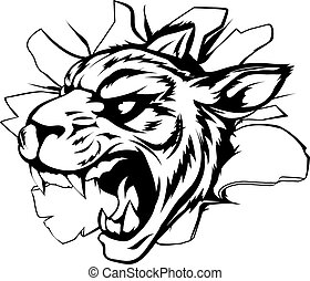 tiger, parede, quebrando, mascote