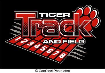 tiger, pista, campo