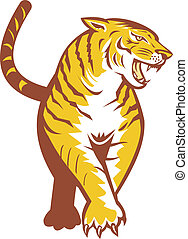 tiger, prowling, retro
