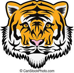tiger, rosto, vetorial