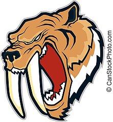 tiger, sabertooth, cabeça, mascote