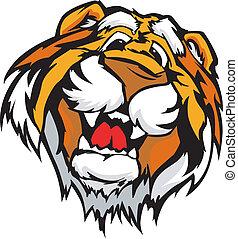 tiger, sorrindo, vetorial, caricatura, mascote