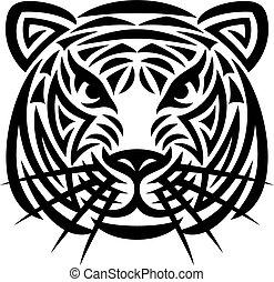 tiger, tatuagem, cabeça, (tiger, face)