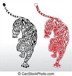 tiger, tatuagem, tribal