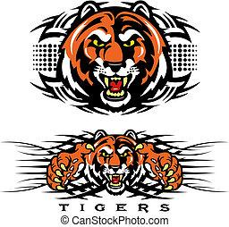 tiger, tribal, desenho