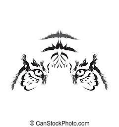 tiger, vector), (head, esboço
