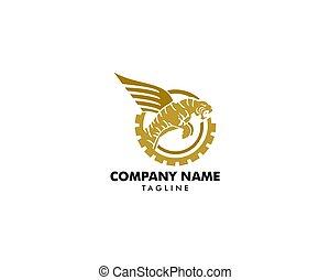 tiger, vetorial, desenho, modelo, logotipo, asas