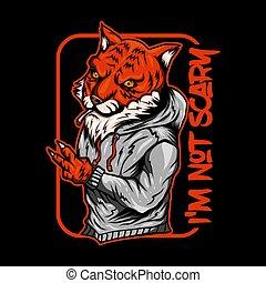 tiger, vetorial, fumaça, ilustração