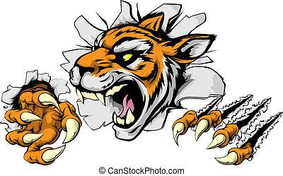 tiger, zangado, esportes, mascote
