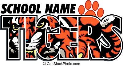 tigres, desenho, escola