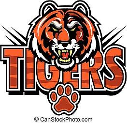tigres, desenho, mascote
