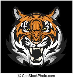 tigres, ilustração, tiger, vetorial, head., face.